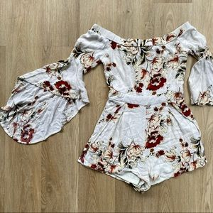Luxxel White Floral Romper/ Playsuit Bell Sleeves